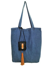 Light Washed Denim Pocket Tote Bag With Leather Tassel Pouch