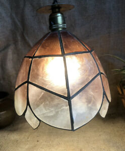 capiz shell Flower Shape lampshade Shade abstract rectangle Shell Panels Brass