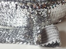 1 Metre of 55MM wide 6 ROW ELASTIC STRETCH SEQUIN TRIM Select from 10 Colours