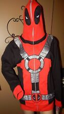 Marvel Deadpool ~M ~ Full Face Cover Closure ~ Zipper Hoodie ~ Red Black Silver