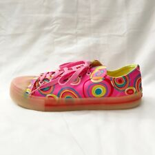 Parade Sneakers Pink Neon Psychedelic Retro Circle Print Italian size 8 Vintage