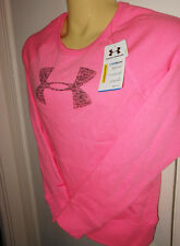 Under Armour ColdGear Shimmer Women's Charged Cotton Crew Big Logo PINK # M