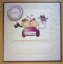 Hand made WEDDING CONGRATULATIONS card PERSONALISED for the BRIDE & GROOM purple