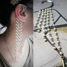 NEW Fashion Ear Stud Tassel Imitation Pearl Rivet Retro Ear Hook Earring Bronze