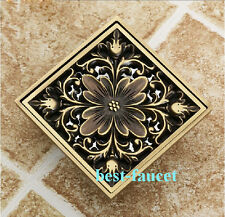 Euro Square Antique Brass Art Carved Flower Bathroom Floor Drain Waste Grate