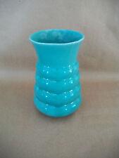 "Vintage Green Ringed Art Pottery Art Deco Style Vase Flowers Garden 7 3/4"" EUC"