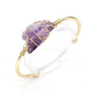 Natural Raw Healing Crystal Quartz Wire Wrap Stone Reiki Bracelets Women Jewelry