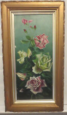 Antique VICTORIAN PINK & Yellow ROSES Oil on Board GOLD Frame Signed c.1901 Art