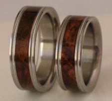 Brown Maple Burl Wood Wedding Bands Pure Tungsten & Titanium Rings Sizes 4-17