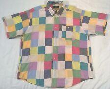 ORVIS Short Sleeve Patchwork Button Up Pocket Shirt Men's Large