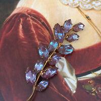 Antique Vintage Gablonz Saphiret Glass Leaf Brooch Gilt サフィレット Bi Colour