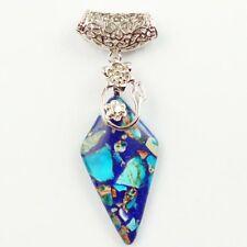 Wholesale Tibetan Silver Hang Blue Sea Sediment Jasper Pendant Bead CQYWX815