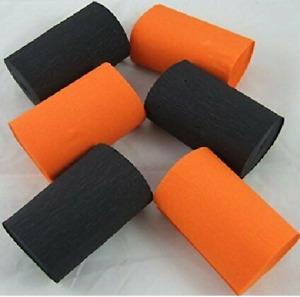 3 Orange  3 Black Wide Crepe paper Streamers 80mm x 10metres quauliy decoration