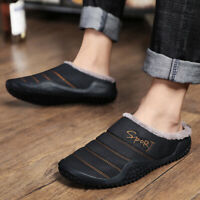 Men's Winter Warm Snow Fur Lining Waterproof Slippers Non-slip Shoes Indoor