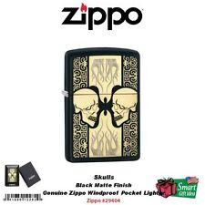 Zippo Skulls Lighter, Two Heads Design Pattern, Black Matte #29404