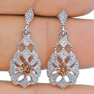 2CT Padparadscha Sapphire & Topaz 925 Sterling Silver Earrings Jewelry, YC1