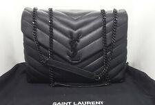"AUTHENTIC Saint Laurent loulou Medium bag matelassé ""y"" leather All black Yves"