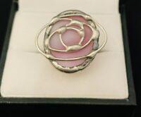 Charles Rennie Mackintosh Style Hand Made Silver Tone / Pink Statement Ring