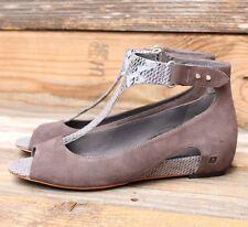 Tsubo Womens Gerri Snake Charcoal Suede Heels Wedges Sandals US 6 UK 4.5 EU 37