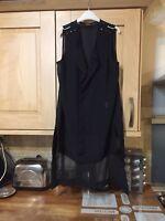 Ladies Sleeveless Black Chiffon Knee Length Sleeveless Blouse Size 14 Papaya
