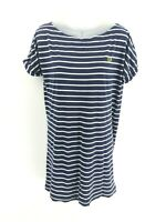 FRED PERRY Womens T Shirt Top Dress 8 Blue White Stripes Cotton & Modal Long