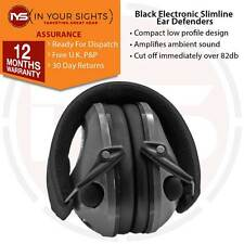 Black slimline electronic shooting ear defenders / Clay pigeon hunting ear muffs