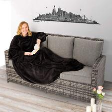 Coperta con le maniche soffice dormire divano tasca del mobile 170x200cm nero nu