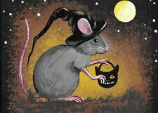 ACEO PRINT OF PAINTING HALLOWEEN RYTA MOUSE WITCH VINTAGE STYLE FOLK ART RAT BAT