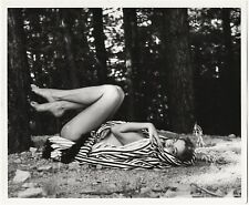 Vintage Circa 1950s Leggy Barefoot Pin-Up Girl Reclining Out of Doors Photograph