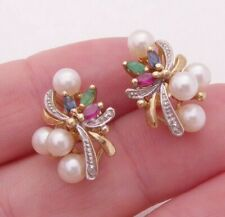 9ct gold diamond, ruby, emerald, sapphire & pearl vintage cluster earrings, 375