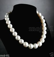 "Rare Huge 14mm Natural White Round South Sea Shell Pearl Necklace 18"" AAA+"