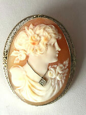 Cameo Diamond Pin Brooch Convertable Pendant Vintage 14K White Gold Large Shell