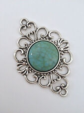 2 pcs Turquoise Oval Connector Charm Bead Silver Antique Jewelry Making Findings