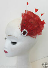 Red Peacock Feather Vintage Fascinator 1920s 1940s Races Hair Clip Art Deco P62