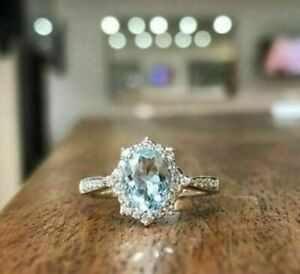 2.36Ct Oval Cut Aquamarine Solitaire Women Engagement Ring 14K White Gold Finish