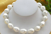 "Pretty 20mm White Baroque South Sea Shell Pearl Beads Necklace 18"" AA 2019"