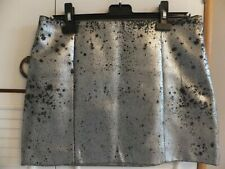 RIVER ISLAND DISTRESSED SILVER FAUX LEATHER MINI SKIRT 12 UK BNWOT