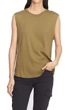 NEW$85 Vince Women´s Shirttail Olive Green Muscle Tank Top Shirt Large L