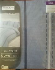 Marl Stripe  king size   Duvet Set   Blue BNWT