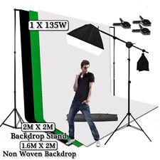 Photo Studio Continuous Lighting Kits Softbox Boom Arm 1.6x2M Backdrop Stand