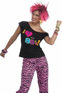 80's T-Shirt Adult Women's Costume 1980s Poly Cotton Halloween