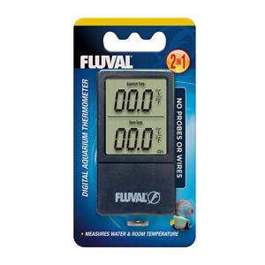 FLUVAL 2in1 DIGITAL AQUARIUM THERMOMETER MEASURES TANK WATER & ROOM TEMPERATURE