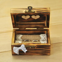 Personalized Wedding Ring Box, Rustic Ring Bearer, Wooden Ring Holder with Heart