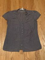 Charlotte Russe Blue Chambray Cotton V Neck Cap Short Sleeve Top Womens Size XS