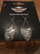Harley Davidson Drop Earrings Bar&Shield   W/ Crystals 97802-16VW