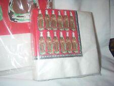 """RARE COCA COLA COKE LOT TABLE COVER 54""""X102"""" 1 PK 30 BEV NAPKINS & 12 CUPS 1993"""