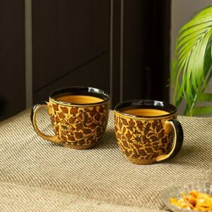 Ceramic Handpainted Mugs for Tea Coffee Mug Set of 2 'Floral' (280 ML)