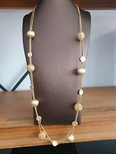 Collier Halskette 65 cm Messing echt gelb vergoldet Doppelreihig
