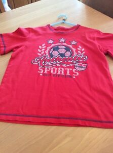 boys clothes 11-12 years George Red Authentic Sports Cotton Short Sleeved Top
