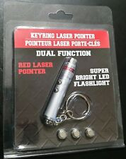 Dual Function Red Laser Pointer/Bright LED Flashlight with Keyring & Batteries